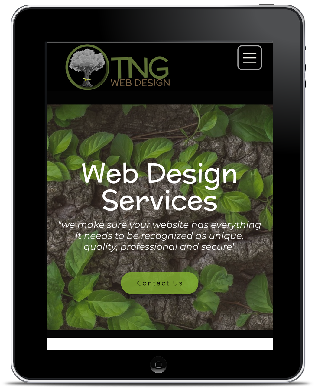 Quality Website Design Tablet Demo for TNG Web Design
