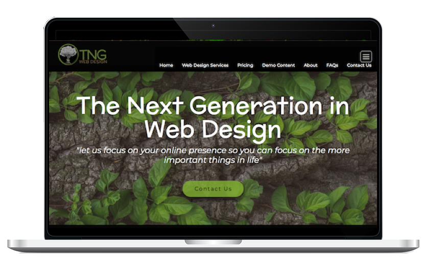 Quality Website Design Laptop Demo for TNG Web Design